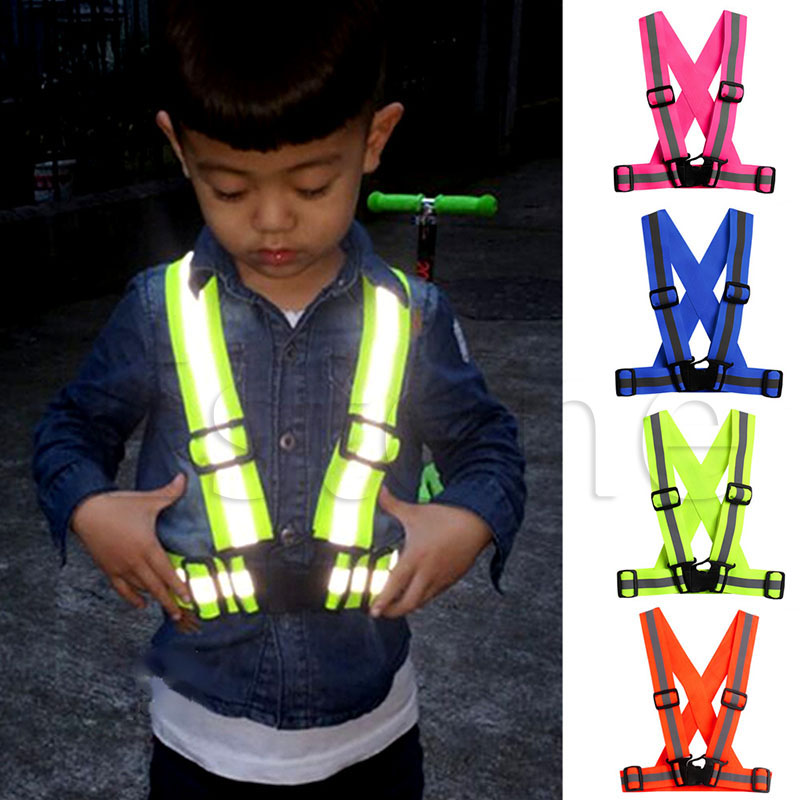 Children Kids Safety Adjustable Safety Reflective Visibility Striped Vest Jacket Highlight For Night Riding Cycling Sports