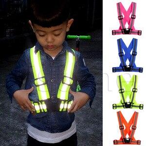 Children Kids Safety Adjustable Safety Reflective Visibility Striped Vest Jacket Highlight For Night Riding Cycling Sports