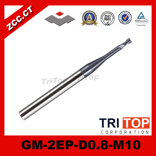 3PCS/LOT ZCC.CT GM-2EP-D0.8-M10  Cemented Carbide 2 flute flattened solid carbide micro end mill  цены