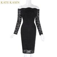 Kate Kasin Off Shoulder Summer Dess 2017 Women Long Sleeve Slash Neck Floarl Lace Dress With