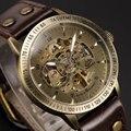 Vintage Bronze Skeleton Steampunk Dial mismo viento reloj de pulsera mecánico con marrón genuino correa de cuero de regalo para hombres mujeres