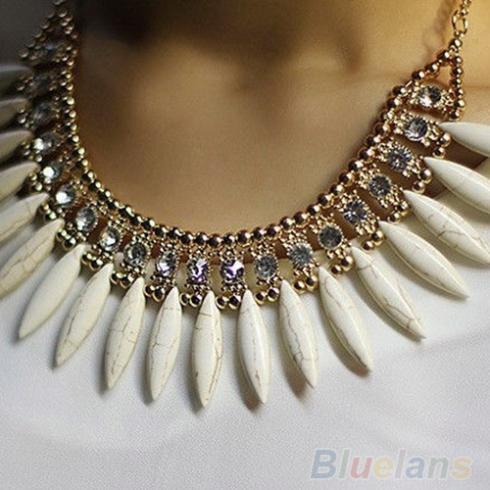Femmes mode frange goutte rétro belle Occident Style cristal exquis gland collier 01CA