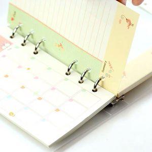 45 листов Kawaii A5 A6 Блокнот с листьями, бумага для пополнения спирального переплета, индекс внутренних страниц, ежемесячный ежедневный ежедневник