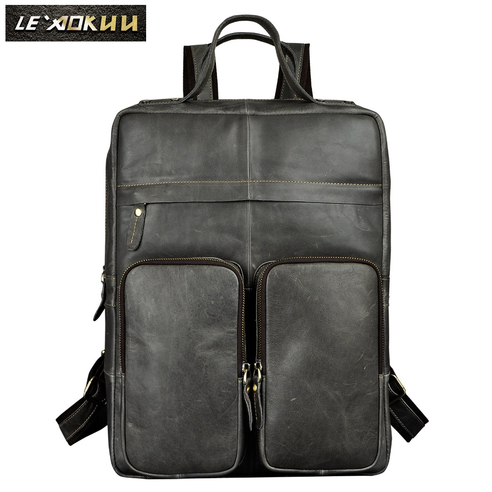 Leather Heavy Duty Design Men Travel Casual Backpack Daypack Rucksack Fashion Knapsack College School Book Laptop Bag 2107g genuine leather heavy duty design men travel casual backpack daypack fashion knapsack college school book laptop bag male 1170c