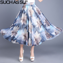 SUCH AS SU Brand New 2017 6 Color Ink Lotus Plum Printed Skirt Women Elastic Waist Spring Summer Female Chiffon Pleated Skirt