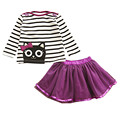 2017 Girls Clothing Sets Summer Fashion Kids Clothing Sets Cartoon Print Striped T-shirt+Skirt 2Pcs for Girls Clothes