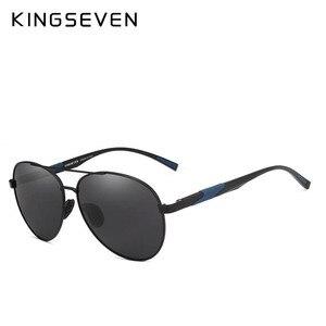 Image 2 - KINGSEVEN تصميم الرجال الكلاسيكية الاستقطاب النظارات الشمسية الألومنيوم الطيار نظارات شمسية UV400 حماية NF 7228