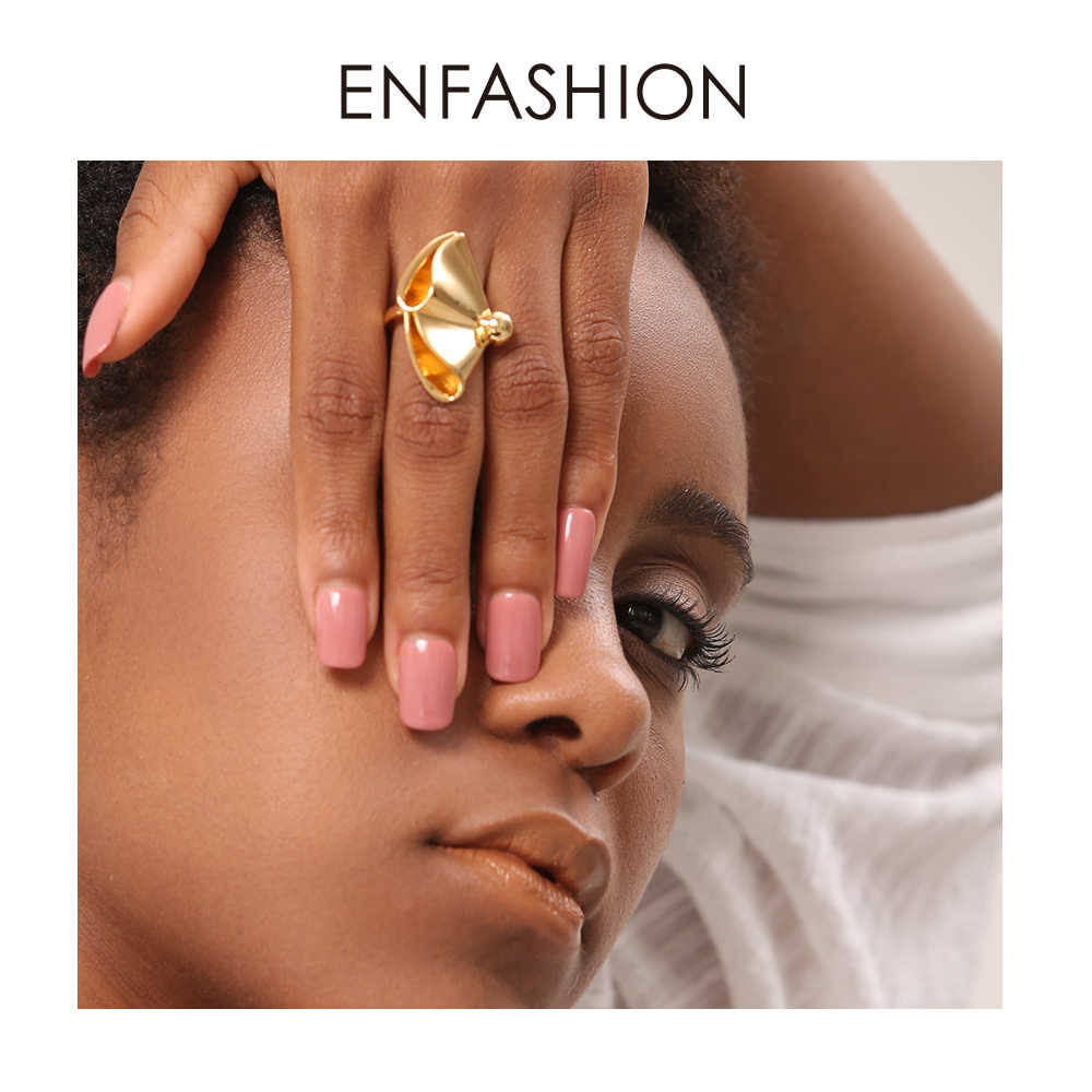 Enfashion Drape Ring Gold Color Big Brass Engagement Ladies Rings For Women Party Gifts Fashion Jewelry Ringen Anelli RF184004