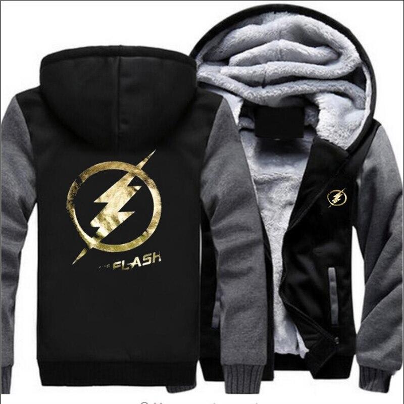 2018 Women/Men Hooded Zipper Hoodies Male Sweatshirts Thicken The Flash Pattern Print Comic Superhero Tv Hoody Cosplay Coats