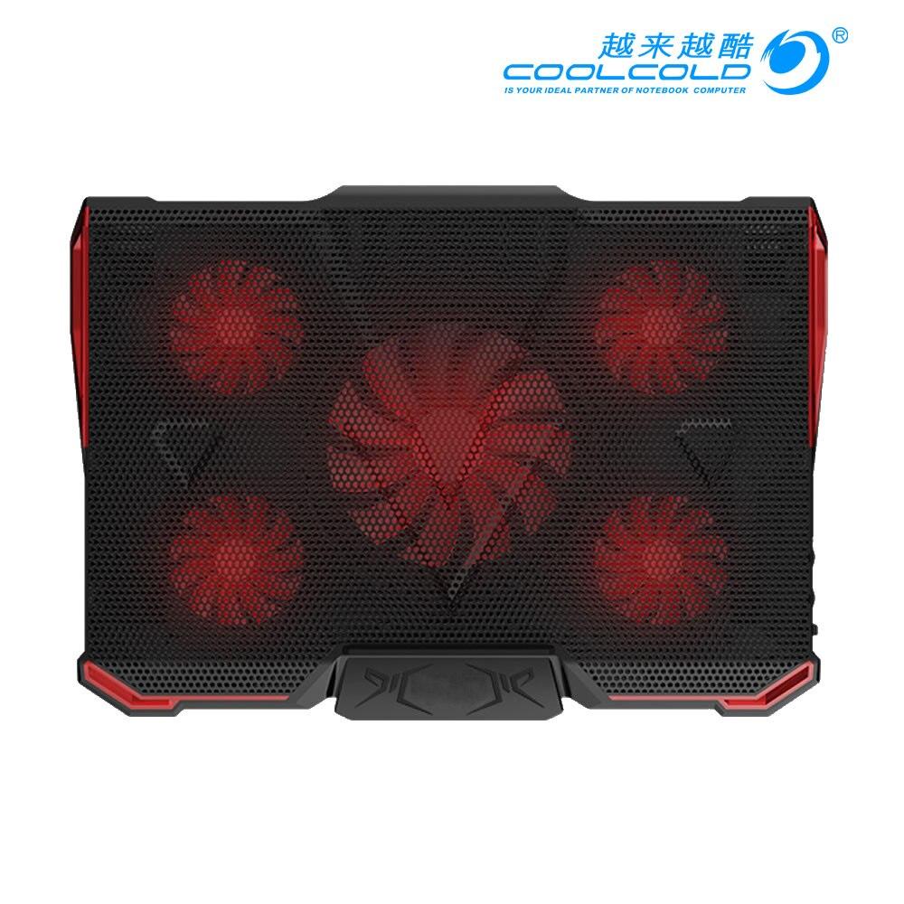 купить CoolCold Notebook PC Cooler Laptop Cooling Pad Air-cooled 5 LED Fans 2 USB Ports Adjustable Holder for 12-17 inch Laptop недорого