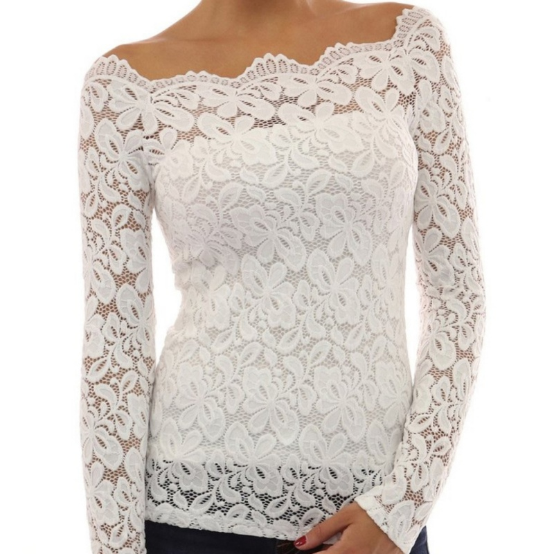 Sexy Lace White Blouse Casual Women Long Sleeve Off The Shoulder Tops Femme Embroidery b ...