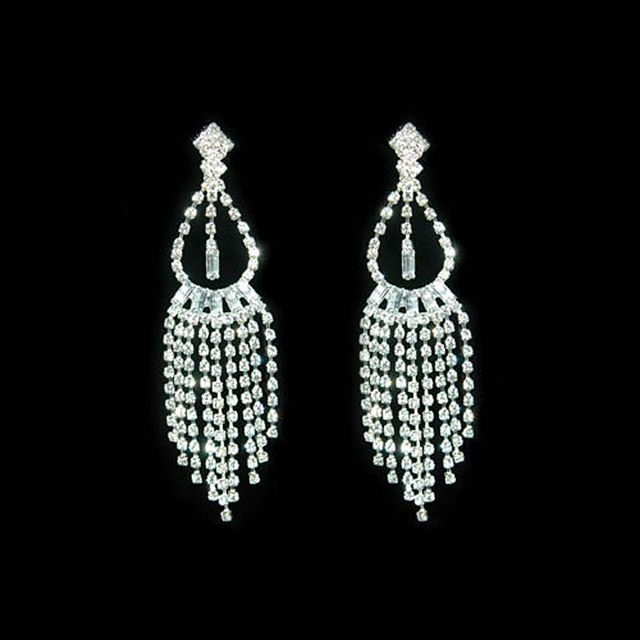 4 Drag Queen Rhinestone Clip On Bridal Pageant Dangle Earrings Prom Accessories Ce1031