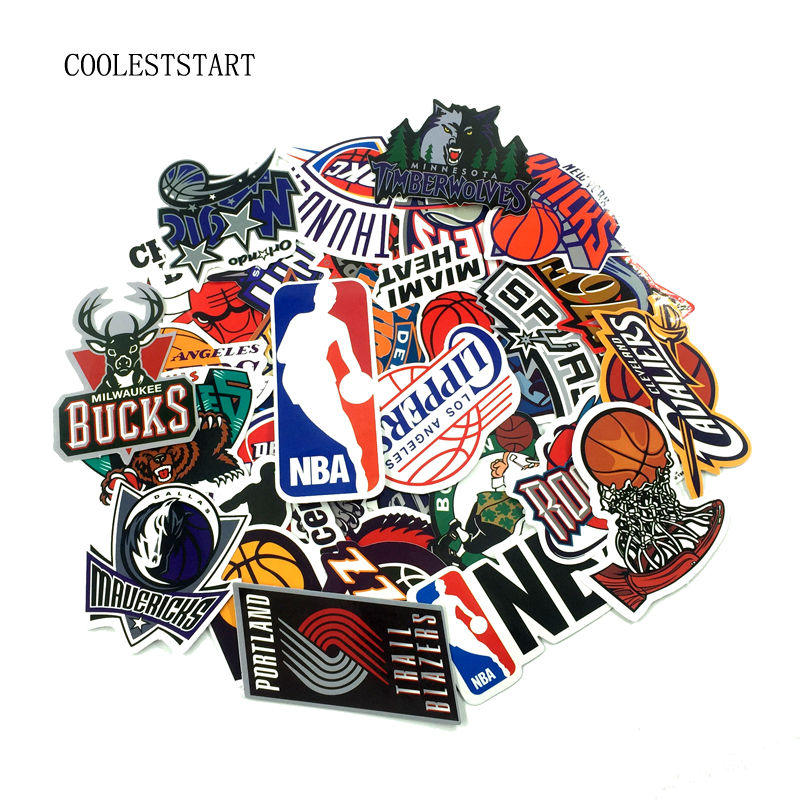 32 Pcs/Lot NBA Club Logo Stickers Waterproof Sticker For Car Laptop Trunk Skateboard Guitar Bicycle Decal Car-Styling car styling for english french bulldog pet dog paws love hearts car window laptop decal sticker