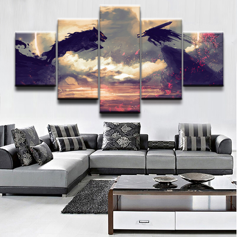 Modular Art Painting HD Printed Frame Home Decor 5 Panel Anime Berserk Guts Wolf  Living Room Wall Pictures Canvas Poster