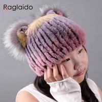 knitted rex rabbit fur hat real fur cat ear hat girls beanies with fox fur diamond Kids hand knitted headwear 42 52cm LQC1003
