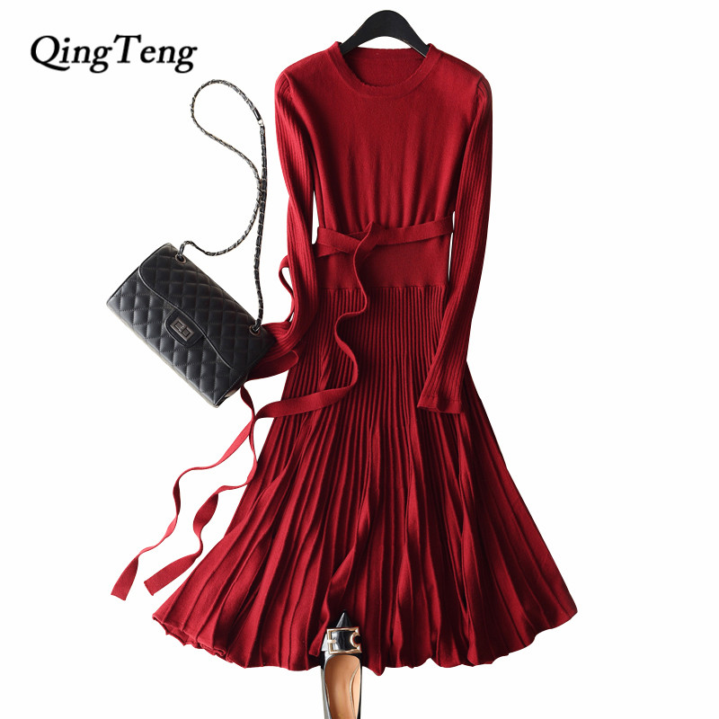 QingTeng Knitted Dresses Women For Autumn Winter Warm Cashmere Wool Long Sleeve Clothing For Women Sweater Long With Belt