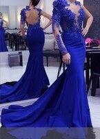 Длинные вечерние платья 2019 Русалка одно плечо одежда с длинным рукавом бусины Спинки Королевский синий торжественное платье Вечерние выпу