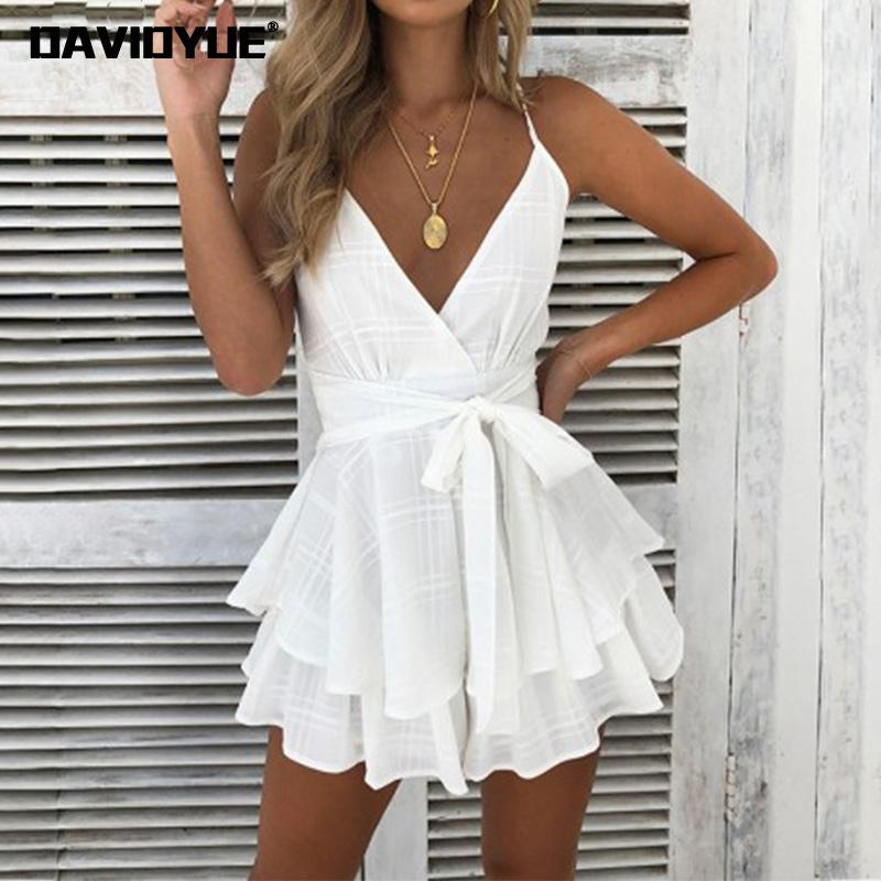 Sexy backless bow white jumpsuits for women 2018 Summer rompers womens jumpsuit Boho ruffles Sleeveless Plaid Playsuit overalls