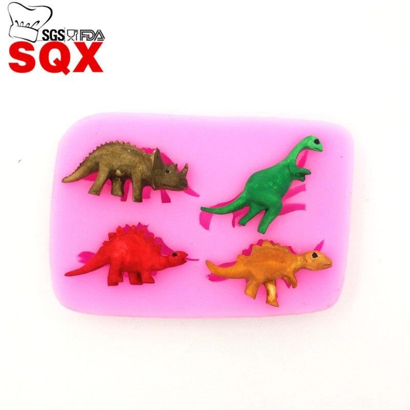 4 UNIDS Dinosaur Forma Pastel de Silicona del molde Herramientas de decoración d
