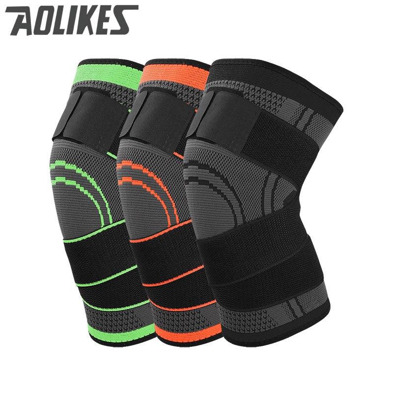 Aolikes 3D tecer pressurização suporte knee brace basquetebol tênis para caminhada ciclismo joelho protetor profissional joelheira esportes