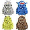 Clothing quente 2017 das crianças das meninas dos meninos do hoodie animais polar dos desenhos animados owl/sapo/urso crianças camisolas casacos casacos de inverno