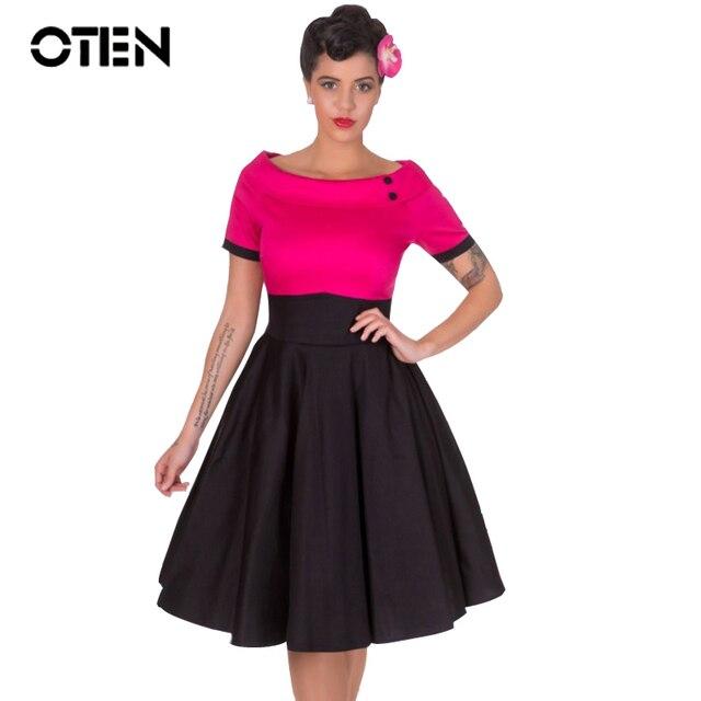 OTEN 2018 Ladies Summer short sleeve Vintage Retro 50s 60s Rockabilly  Skater Swing Midi Flare dress clothing vestido de festa 6baf54d1e311