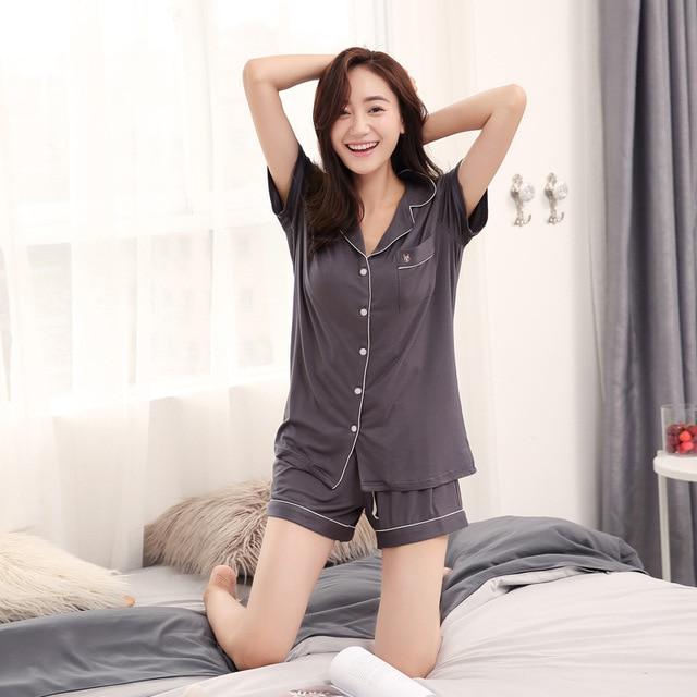 Modal Pijama Shorts Women Two Piece Short Pajama Set Pyjama Shorts Button Top and Womens Sleep Shorts Summer Sleepwear 8