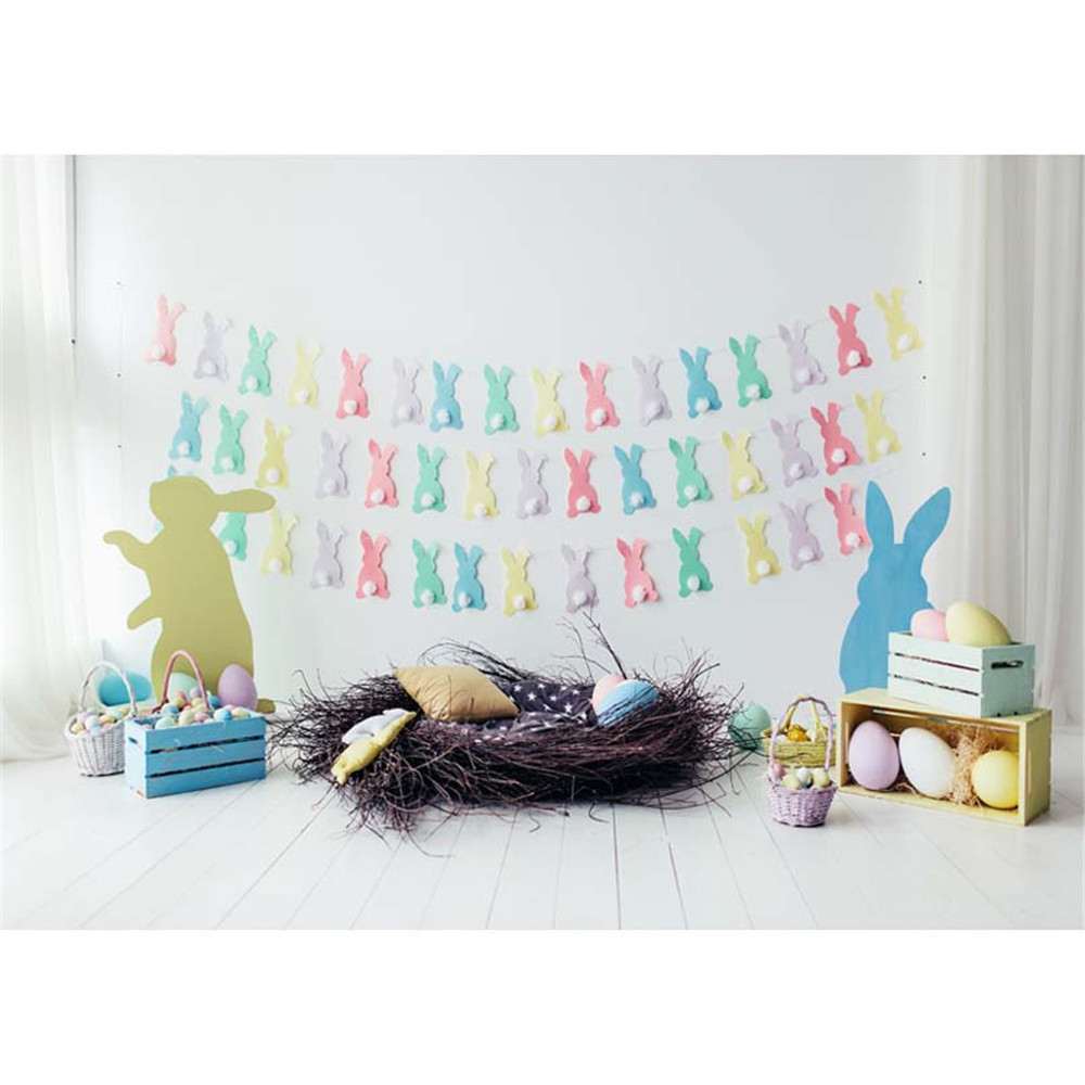 Happy Easter Baby Newborn Photography Backdrop Printed Paper Cut Rabbits Eggs Basket Nest Kids Photo Shoot Background Wood Floor