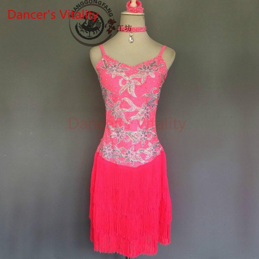 Dancers Vitality Diamond Embroidered Harness Style Latin Dance Dress Women Samba Salsa Tango Dress For Latin Competition Dress