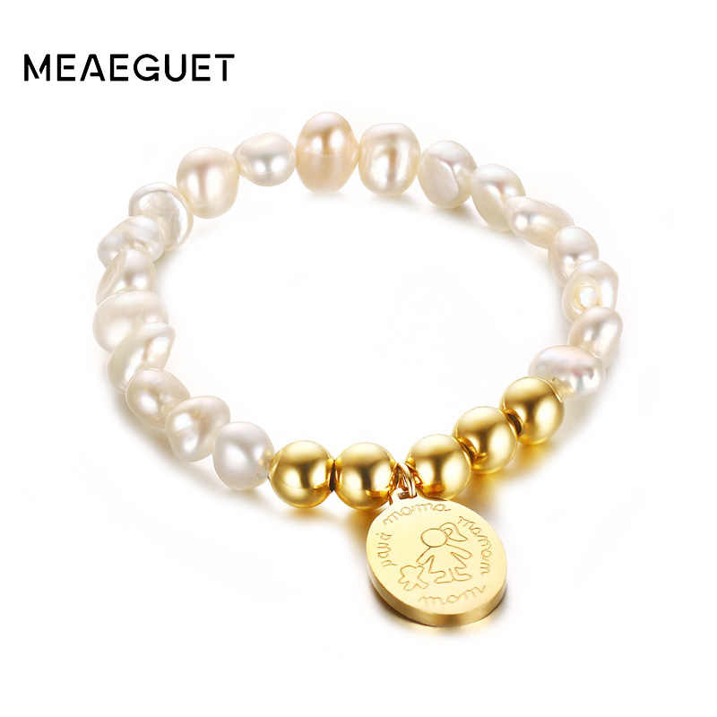 Love Mom Oval Charm Irregular Freshwater Pearls Bracelet For Women Stainless Steel Beaded Bracelet Band Mom's Gift