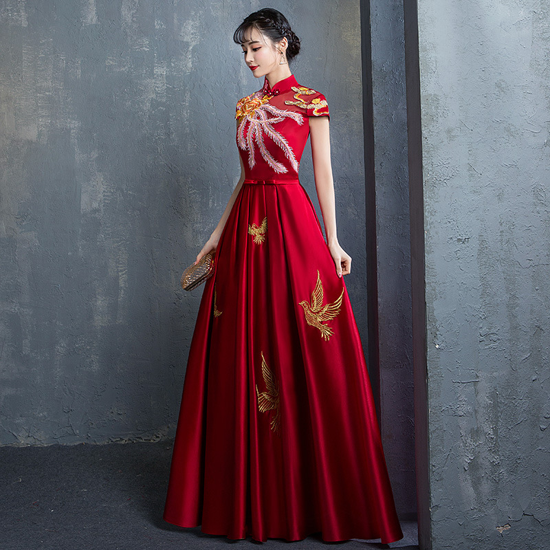 Embroidery Chinese Style Elegant Women Dress Burgundy Bride Wedding Party Gown Lady Big Size 3XL Vestidso Satin Sexy Cheongsam