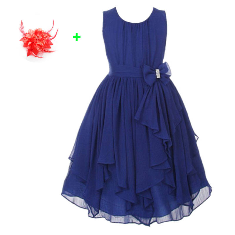 Fashion 13 Colors Summer   Dresses   for Kids   Girls   Tulle Party   Dress   Chiffon Lavender Turquoise Red Navy Blue   Flower     Girl     Dresses
