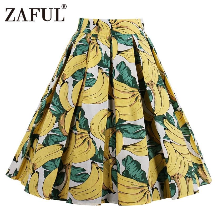 zaful cute banana floral print vintage women skirts girls ...