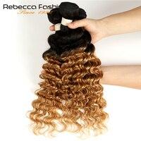 Rebecca Ombre Brazilian Deep Wave Bundles 3/4 Pcs Non Remy 2 Tone Color T1B/27# T1B/30# T1B/99J# 100% Human Hair Bundles