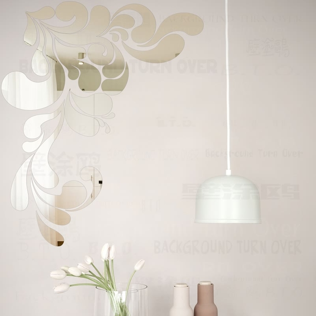 New Design DIY Sea Spray Style Acrylic Mirror Wall Sticker Living Room  Large Flower Wall Decals