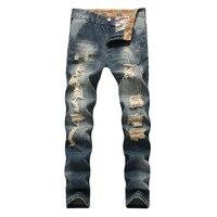 Men Jeans Straight Retro Distressed Ripped Jeans Slim Fit Vintage Casual Hip Hop Biker Moto Hole Pants,TY001