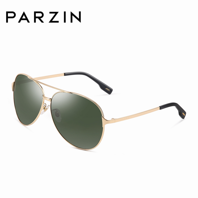 PARZIN High Quality Metal Polarized Pilot Sunglasses For Men Black Pilot Sun Glasses Brand Cost-effective With Accessories ...