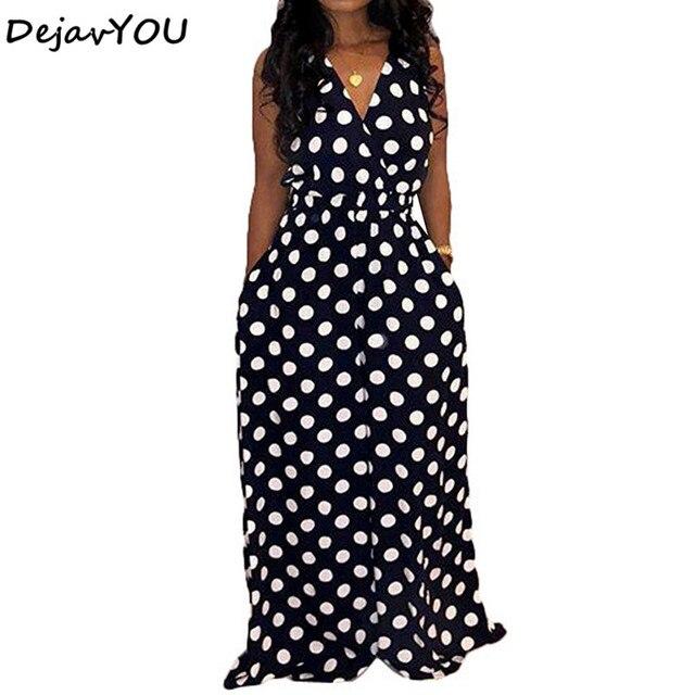 3677e99d5149 Sleeveless Surplice Wrap Polka Dot Jumpsuit V Neck Sexy maxi Jumpsuit Women  Elegant wide leg Jumpsuit