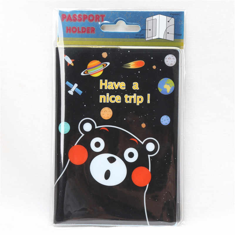 Kawaii Cartoon Bear Passport Cover Women Fashion Embossed PVC Leather Travel Passport Holder Case Credit Holder Bag 14*9.6cm