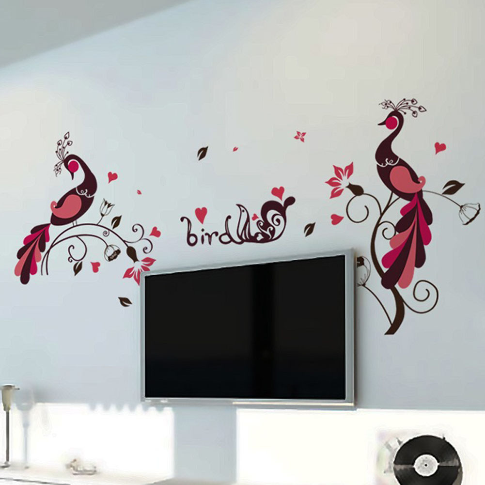 New Bird Peacock Pvc Removable Wall Stickers Room Children S Room Decoration Stickers Kitchen Home Decor
