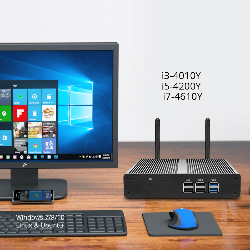 Image 4 - Mini PC Intel Core i3 4010Y i5 4200Y i7 4610Y Windows 10 Nettop 300Mbps WiFi Gigabit Ethernet HDMI VGA 6*USB Fanless-in Mini PC from Computer & Office