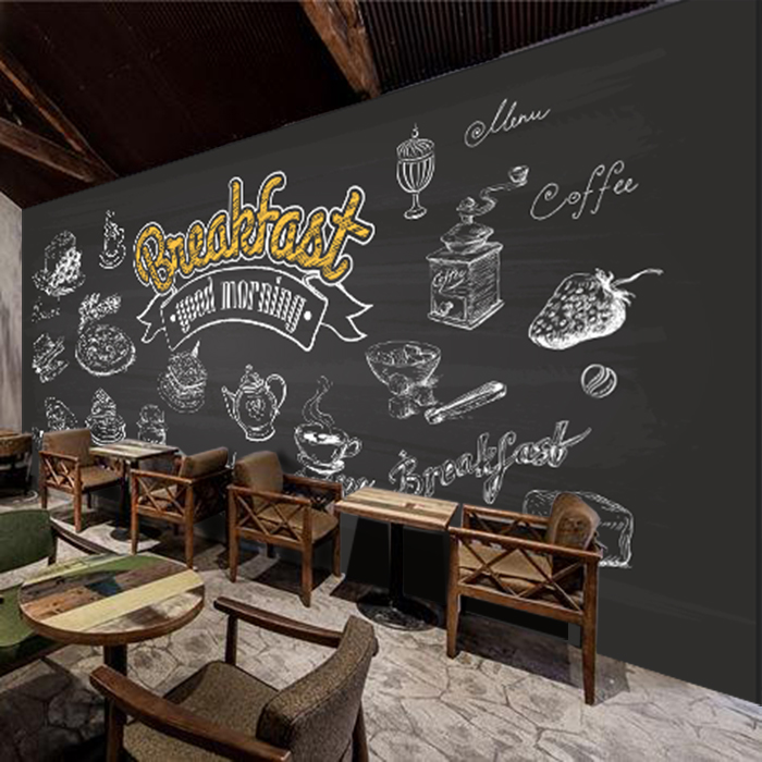 Custom photo wallpaper 3D retro Cafe Restaurant Bar English blackboard background letter cup wallpaper mural custom size photo 3d wood blackboard graffiti wallpaper pizza shop snack bar restaurant burgers store wallpaper mural