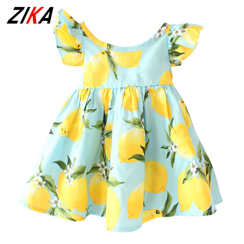 ZIKA brand Kids Dress 2017 Summer Fly Sleeve  Sundress Lemon Pattern Baby Girls Dresses Fashion Children Clothes Christmas Gifts 2017 new fashion brand summer kids clothes children clothing girls dress baby kids princess dress summer denim holiday sundress