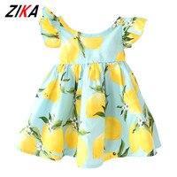 New Girls Dresses Summer 2016 Fly Sleeve Children Sundress Lemon Pattern Baby Girl Dresses Fashion Kids