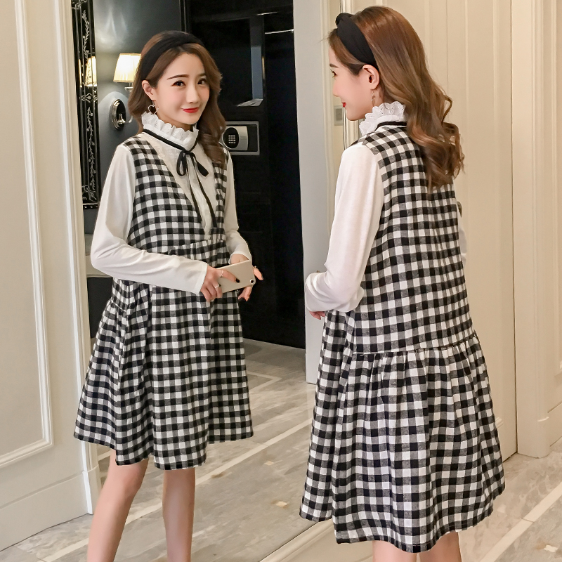 Plaid Maternity Clothing Casual Pregnancy Dress Cotton Long Sleeve Maternity Clothes Of Pregnant Women 2018 Spring