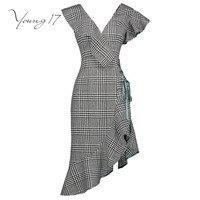 Young17 Vintage Dress Women Patchwork V Neck Black Asymmetrical Lace Up Falbala Elegant Beauty Fashion Female