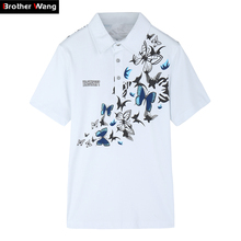 2018 Novos homens Camisa PÓLO de Impressão Moda Plus Size Ocasional Camisa  Pólo de Manga Curta de Algodão Fino roupas de Marca 5. 4945e121bc600