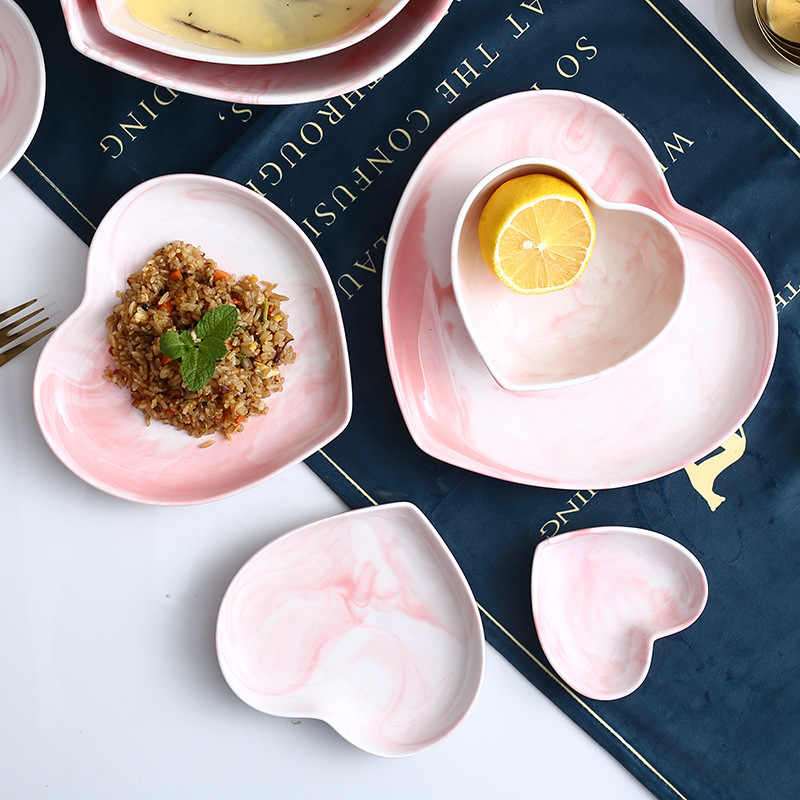 Prato de mármore em formato de coração, conjunto de tigela, colher, comida, sopa, rampa, macarrão, joias, louça, cerâmica, louça, jantar
