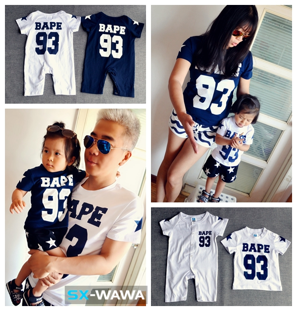 sports shoes be477 7c692 Family guy father and son clothes mother daughter romper for babies family  matching clothes dark blue white 88