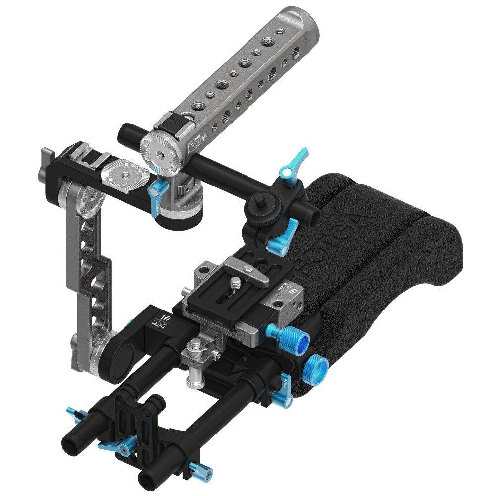 FOTGA DP500 III Maniglia Gabbia + Spalla Pad + Piastra di Base 15mm Rig Supporto per Sony ARRI ROSSO CANON A7 a7R A7RS A7RSIII GH4 GH5